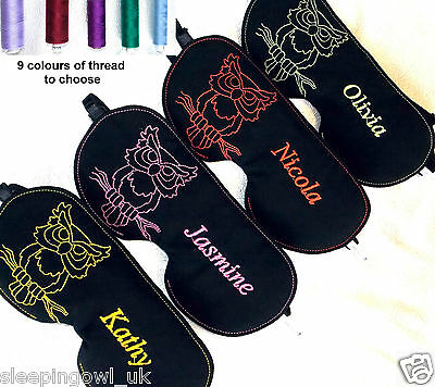 9 Colour Personalized Blackout Sleep Eye Mask Blindfold Migraine Embroidered Owl