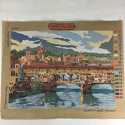 Ponte Vecchio Florence Italy Needlepoint Tapestry Canvas 12x16 by Beatrice Galli
