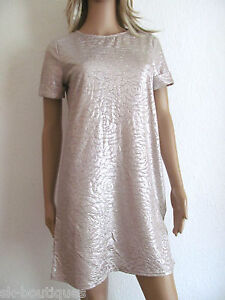 NEW RIVER ISLAND GOLD SHIMMERY DRESS / TOP FLORAL SHORT SLEEVES MINI MIDI