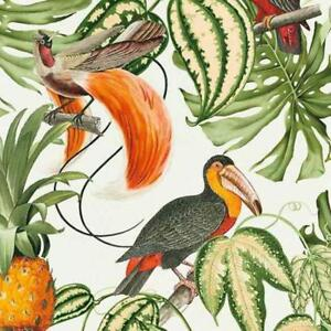 White Multi Tropical Birds Wallpaper With Pineapples Jungle Themed