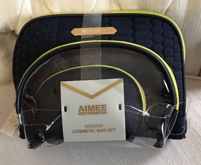Aimee Kestenberg Chelsea 3 Piece Set Navy Python Quilt Gold Zipper Cosmetic Bag