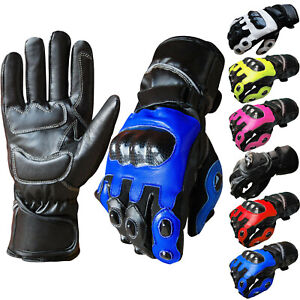 Leather-Motorcycle-Gloves-Waterproof-Motorbike-Biker-Racing-Thermal-Gloves