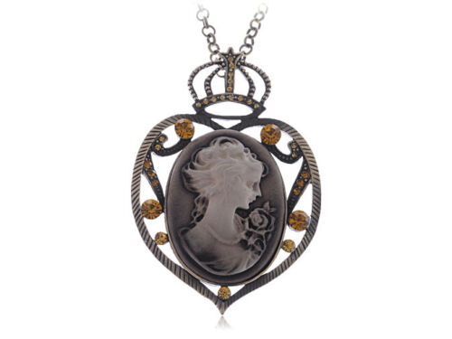 GB Heart Shaped Crown Top Maid Cameo Necklace Pendant