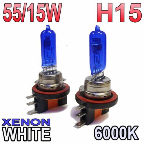 PAIR 64176 Xenon White H15 55//15w Halogen DRL Light Headlight Bulbs 6000k