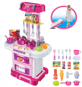 Image Is Loading 3 IN 1 Portable Pink Electronic Kids Kitchen