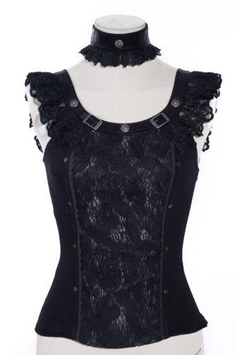 RQ-BL Choker Bluse Steampunk Blouse Gothic Shirt Rüschen Lace Leder Top Black
