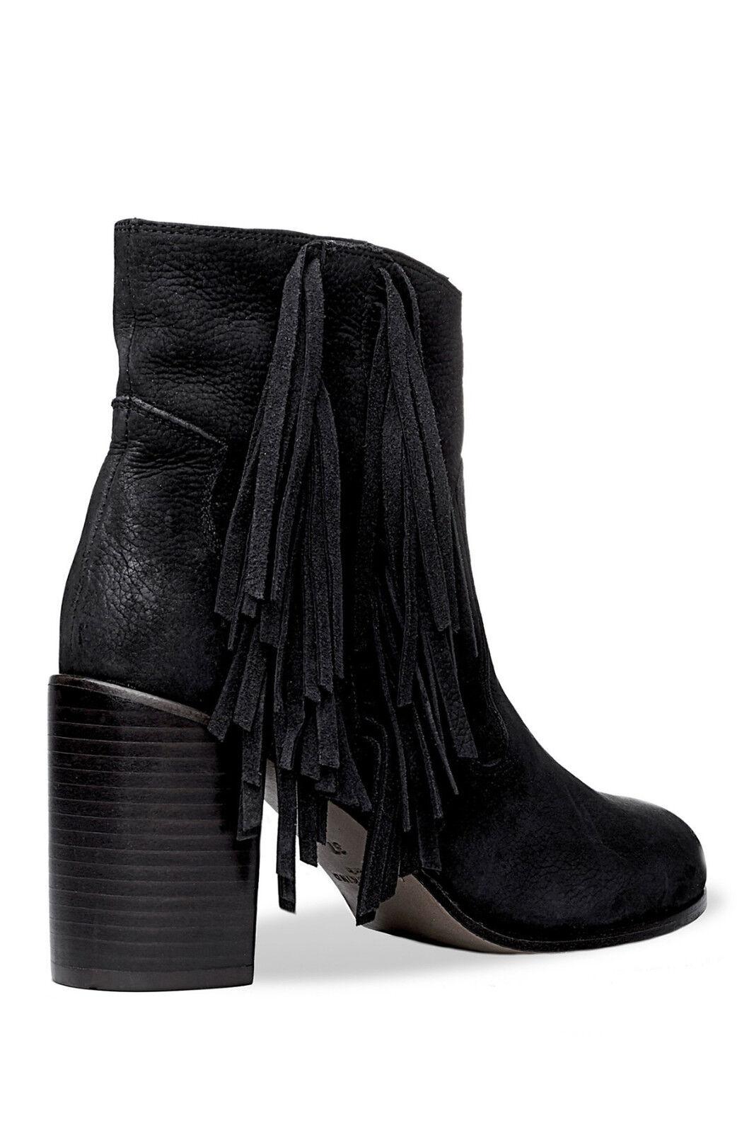 Liebeskind Berlin Nubuck Black Suede Fringe Heeled Ankle Boots 36US 6  318
