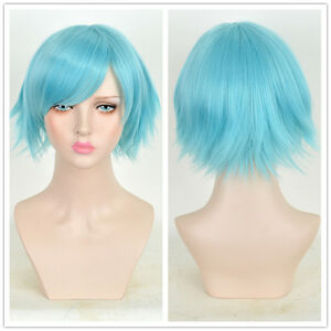 Pastel Blue Hair Short Pixie Cropped Wig Anime Comic Party Cosplay