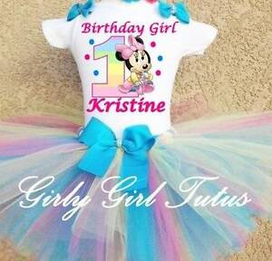 Minnie Mouse Pastel Rainbow 1st Personalize Birthday Tutu Outfit Party Dress Set