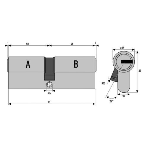 4x Cylindre Profil 85mm 40//45 20 Clé Porte Château S/'Ouvrant avec la Même Clé