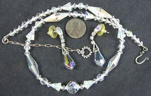 Sterling-Vintage-Faceted-Aurora-Borealis-Crystal-Glass-Beads-Necklace-amp-Earrings
