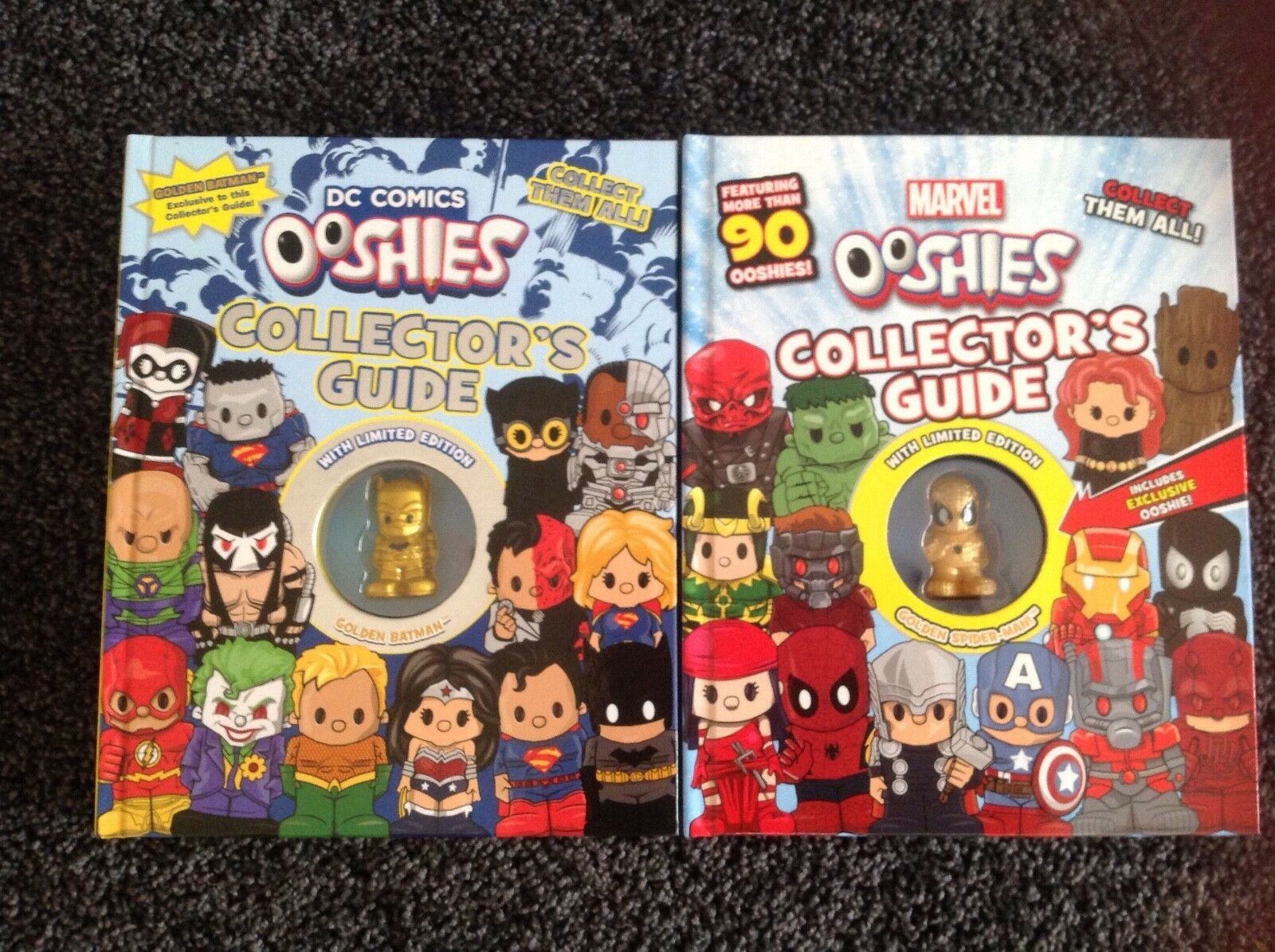 Ooshies Marvel & DC Collectors Guide LIMITED EDITION goldEN BATMAN & SPIDER-MAN