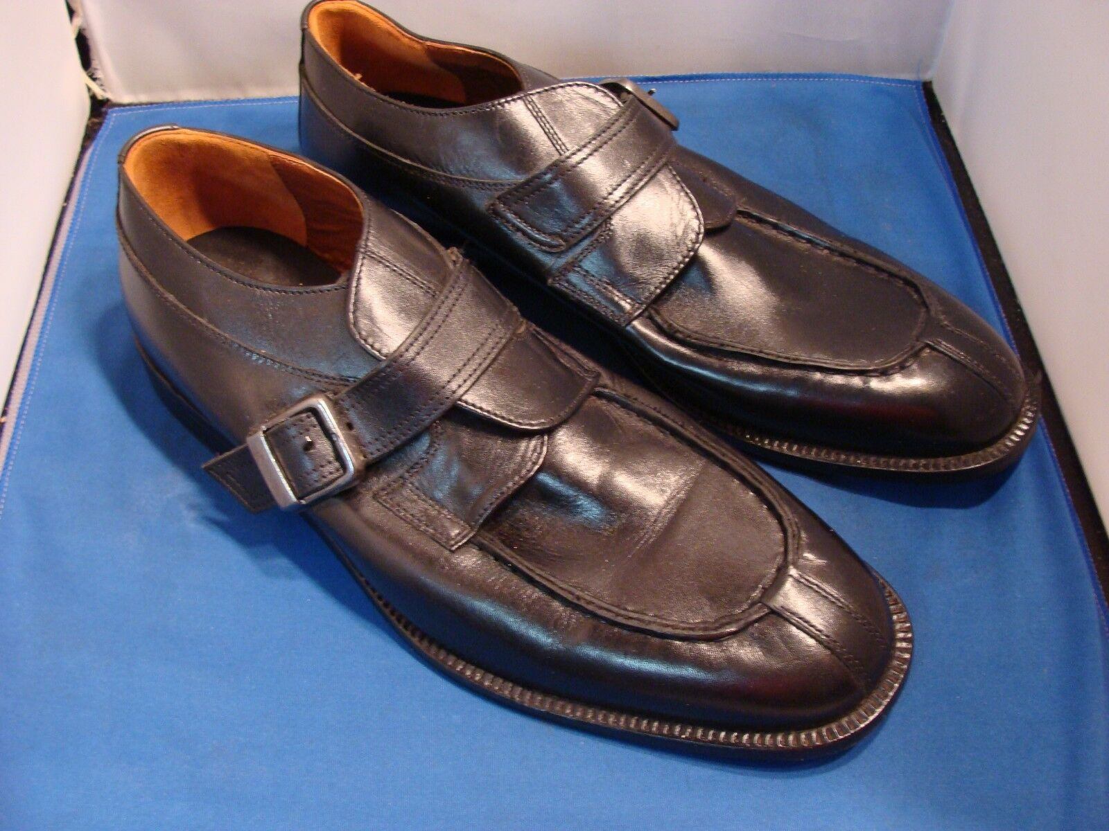 Handmade  - Italo Carlo Men's Buckle Strap Dress Leather shoes - Black - 11