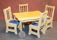 Dollhouse Miniature Oak Kitchen Dining Table & Chairs Set 1:12 1 Inch Scale F71