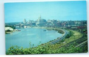 Aerial-View-St-Paul-Minnesota-MN-City-View-of-Skyline-Old-Vintage-Postcard-B72