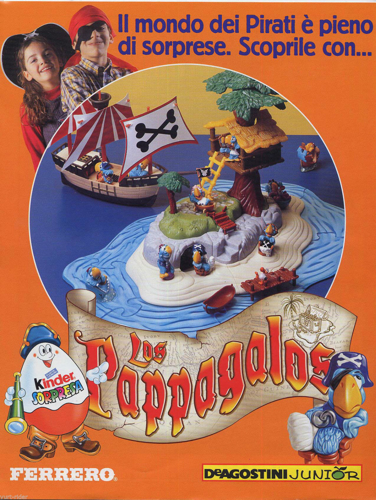 KINDER isola LOS PAPPAGALOS island + galleon snap fit kit +15 booklet new sealed