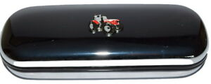Tractor-Glasses-Case-Red-Tractor-Enamel-Chrome-Farming-Gift-inc-cloth