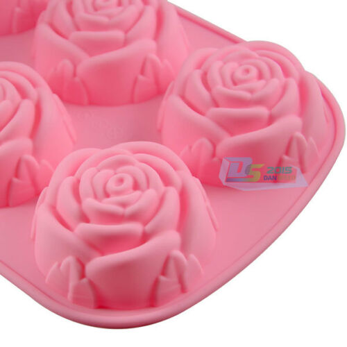 New 6 Rose Silicone Muffin Cup Cake Jelly Baking Mould Pan DIY Pudding Soap Mold