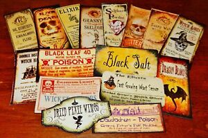 16 Halloween Vintage prim Witch Apothecary potion bottle Label