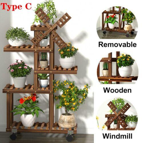 Multi Tier Wood//Metal//Bamboo Plant Flower Stand Shelf Rack Holder Indoor Outdoor