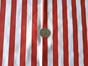 Red-and-white-stripe-poly-cotton-fabric-Material-1-Full-Metre