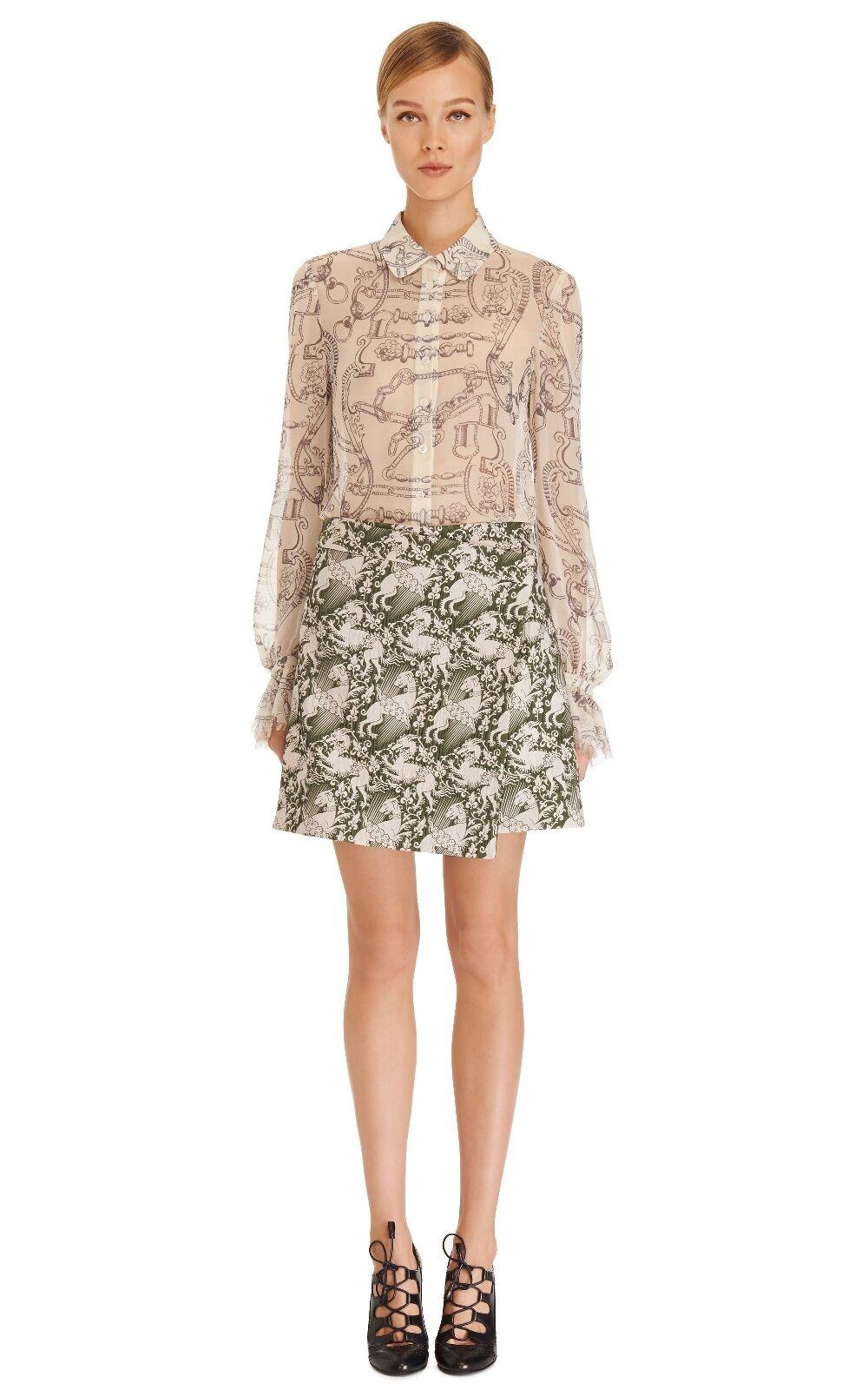 Tory Burch Dress Shirt Silk Sherry Top 14 Blouse Equestrian Sheer XL RUNWAY