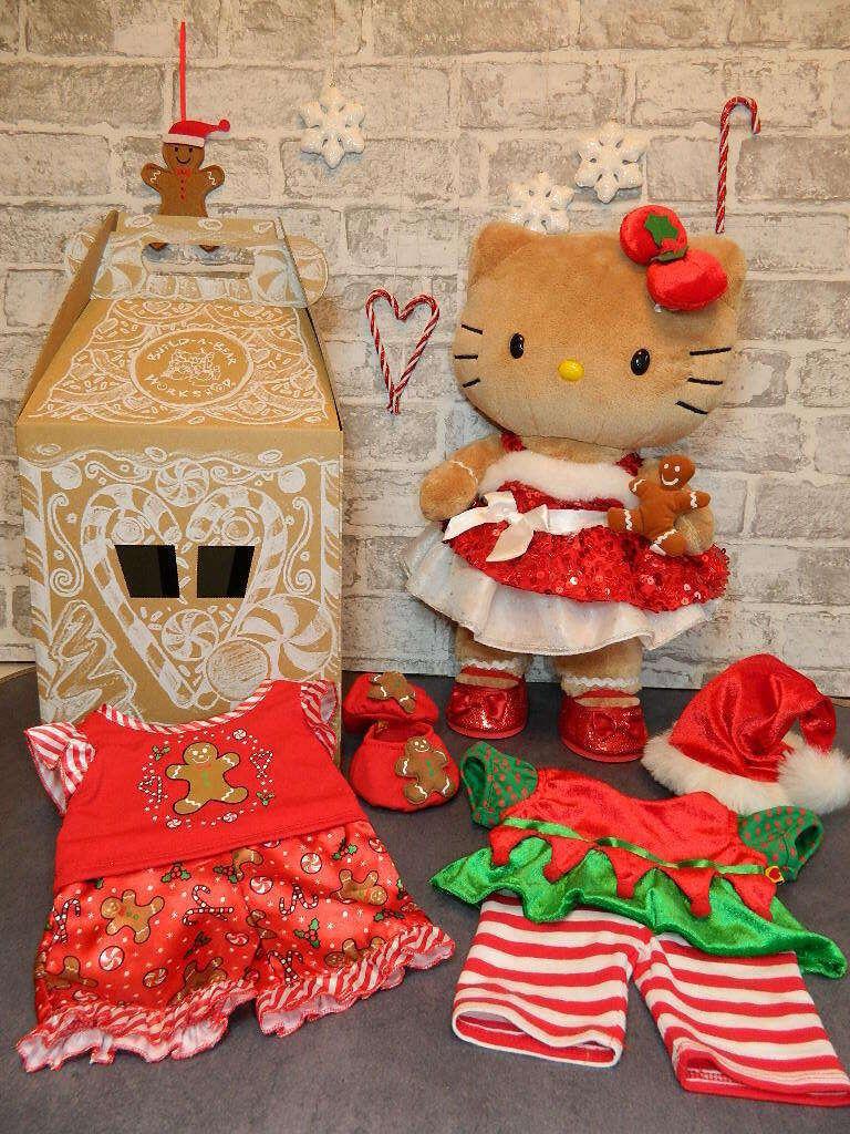 Build a Bear Christmas Bundle-Pan di Zenzero HELLO KITTY, Pigiama, Vestiti + Scatola