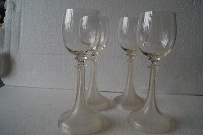 4 Originale, Alte, Hohe Jugendstil Weingläser Trompeten, Weinglas Um 1900 Freigabepreis