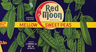 J LANGRALL /& BRO June Peas Can Label Baltimore MD