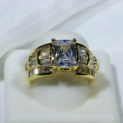 18K Yellow Gold CZ Women Vintage Engagement Wedding Jewelry Ring R4059 Size 5-10
