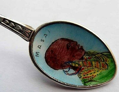 Memory Collectible Spoon Masai Arusha Silver Plated F262 Sophisticated Technologies Enamel
