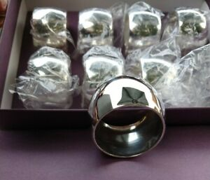 8-Unused-Silver-Plate-English-Vintage-Napkin-Rings-Boxed