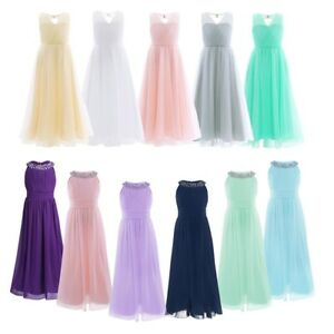 c3bf30c67abf Image is loading Girls-Chiffon-Tulle-Flower-Girl-Dress-Junior-Bridesmaid-