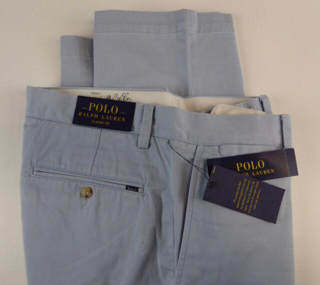 42x30 NWT Black Mens POLO RALPH LAUREN Classic-fit Flat Front Pants NEW