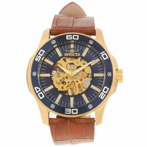 Invicta 17260 Men's Blue & Gold Dial Brown Leather Strap Watch