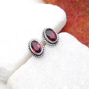 Granat-rot-red-oval-Design-Ohrringe-Ohrstecker-Stecker-925-Sterling-Silber-neu