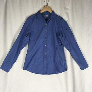 ExOfficio-Women-s-Small-Insect-Shield-Bugs-Away-Blue-Vented-Cotton-Button-Shirt