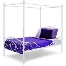 Twin Canopy Bed Metal Kids Bedroom 4 Poster White Heart ...