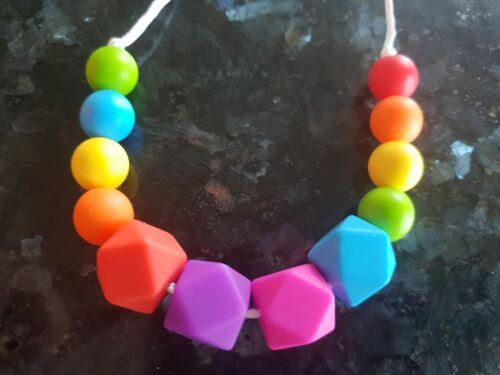 Teething Necklace Nursing Sensory Silicone Jewellery BPA Free Rainbow Colours