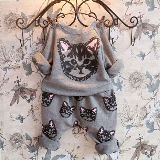 2pcs Toddler Kids Baby Girl Cat Long Sleeve T-shirt Top+Pants Set Clothes Outfit