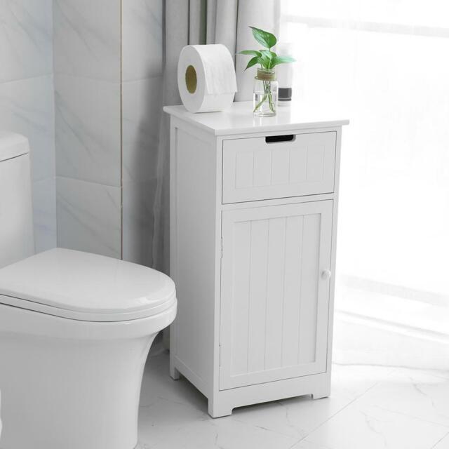 Bathroom Cabinet Freestanding 1 Drawer 2 Shelves Cupboard ...