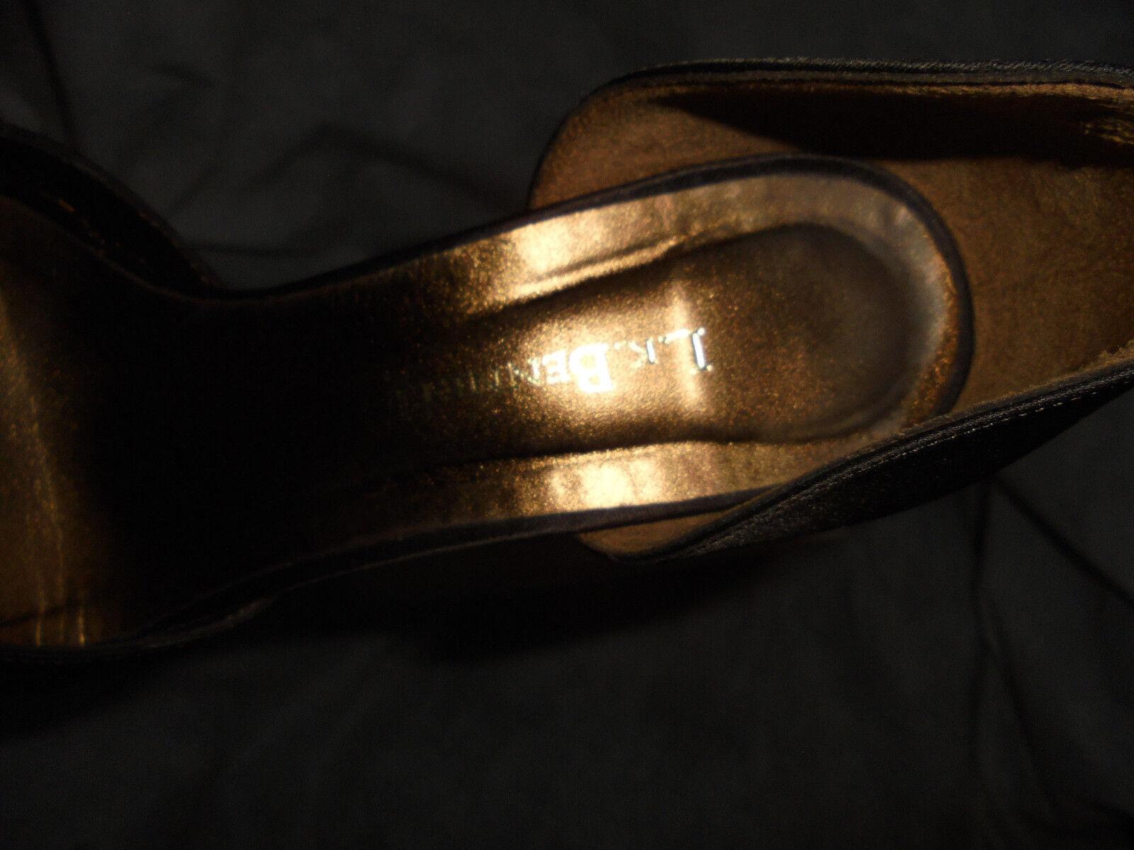 L.K. BENNETH WOMEN BROWN SHOE SATIN SLIP ON HEEL SHOE BROWN SIZE UK 4 EU 37 VGC f710ba