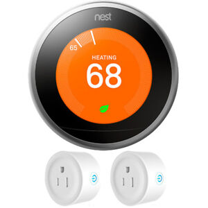 Google-Nest-Learning-Thermostat-3rd-Generation-Stainless-Steel-w-2-Pack-Wi-Fi