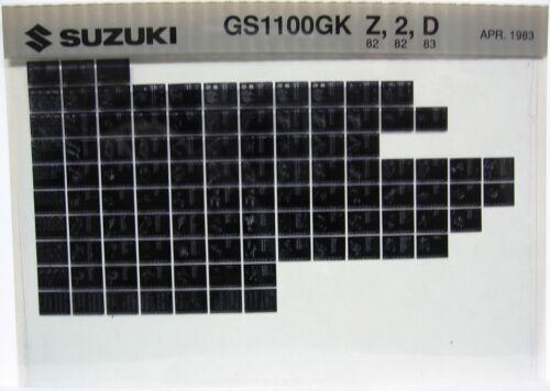 Suzuki GS1100 GS1100GK 1982 1983 Parts Microfiche s441
