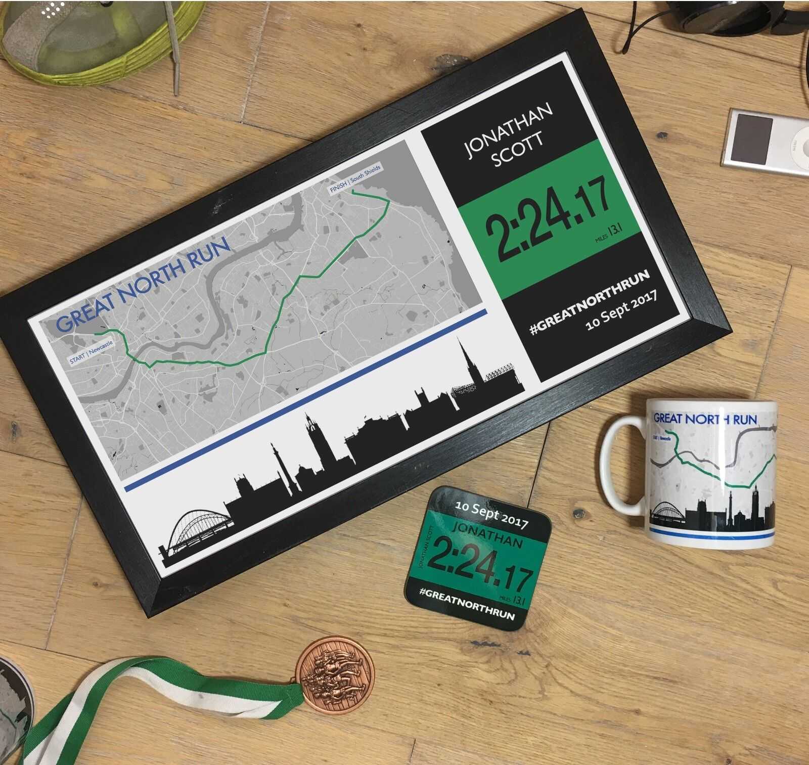 Great North Run Results 2018 Personalised Print Gift - optional mug & coaster