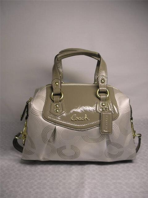 fa7a60f7de50 COACH AUTHENTIC ASHLEY DOTTED OP SIG SATCHEL BAG LIGHT KHAKI TAUPE F-20027  NWT