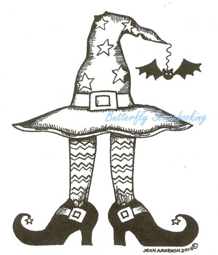 HALLOWEEN Witch Hat Bat Legs Wood Mounted Rubber Stamp NORTHWOODS M10054 New