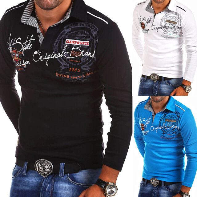 G.B.D. Herren Poloshirt Slim Fit Hemd Langarm Polo T-Shirt Schwarz/Weiß/Blau NEU
