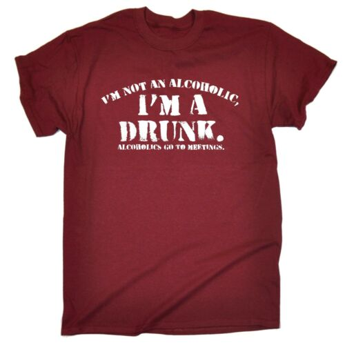 Im Not Alcoholic Im A Drunk T-SHIRT Tee Pub Beer Party Stag birthday funny gift