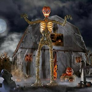 12ft Giant Inferno Pumpkin Head Skeleton With Life Like Eyes Home Depot New Fast